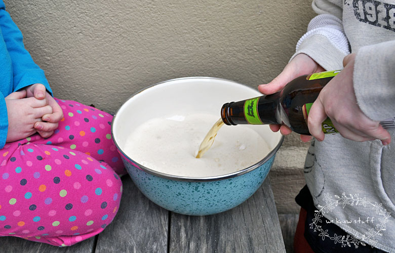 Our Irish Beer Bread recipe not only tastes great, but it's a really fun science experiment for the kids! They love watching the beer explode in the batter!