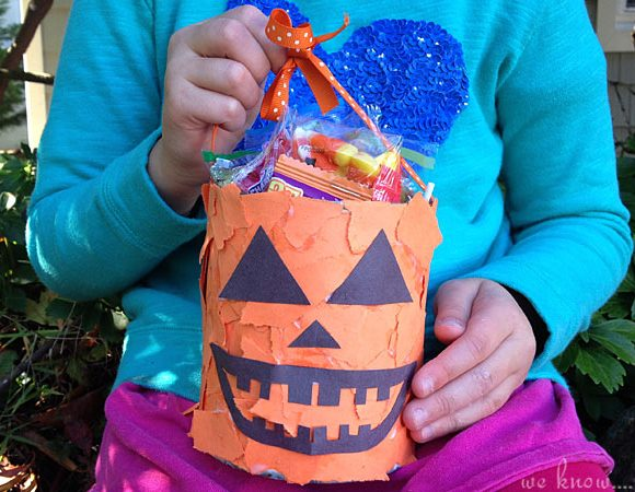 Kids Craft: Torn Paper Pumpkin Baskets