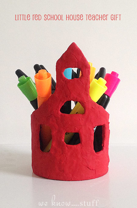This little red schoolhouse pencil holder is made with air dry clay and lots of love! They make perfect homemade Back To School Gifts For Teachers.