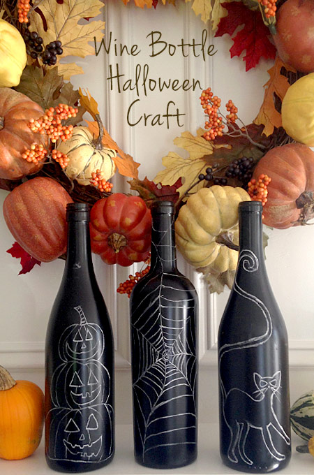 Have you ever wondered what to do with your leftover wine bottles? Our Halloween Wine Bottle craft uses black paint and chalk to create awesome decorations!