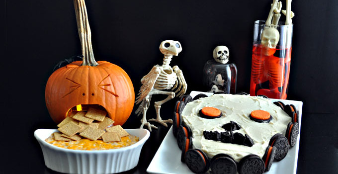 Halloween Snacks: A Spooky Skeleton Cake and Mom's Crab Dip