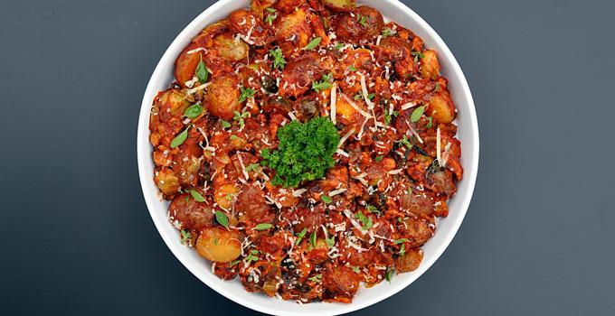 Thanksgiving Sides: Ragú® Chicken Sausage Vegetable Bake #NewTraDish