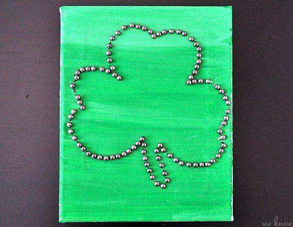 Irish Crafts For Kids: Shamrock Canvas Art