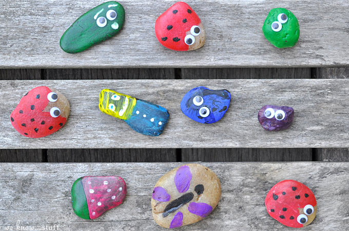 Do your kids like to collect things? You know, like rocks? Well, ours do! So the kids came up with these Rock Painting Ideas For Kids. It's a fun kids craft and you can use your newly painted rocks in the garden or as paperweights!