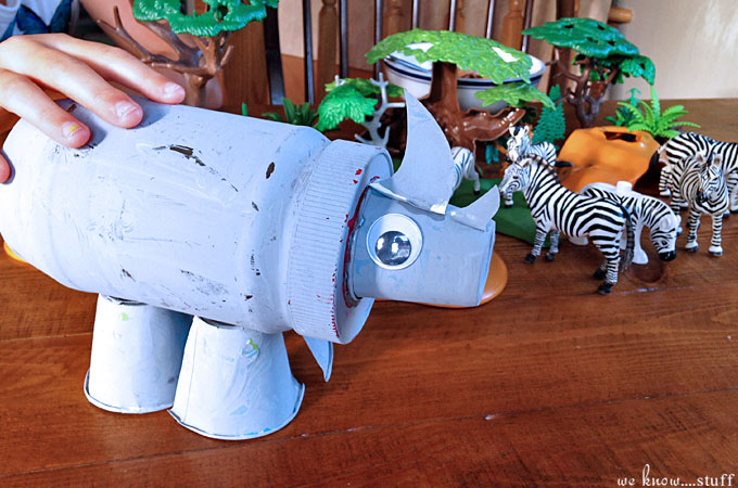 You can easily create this fun Recycled Rhino Craft with your kids. All you need is a peanut butter jar, a few dixie cups and paint!