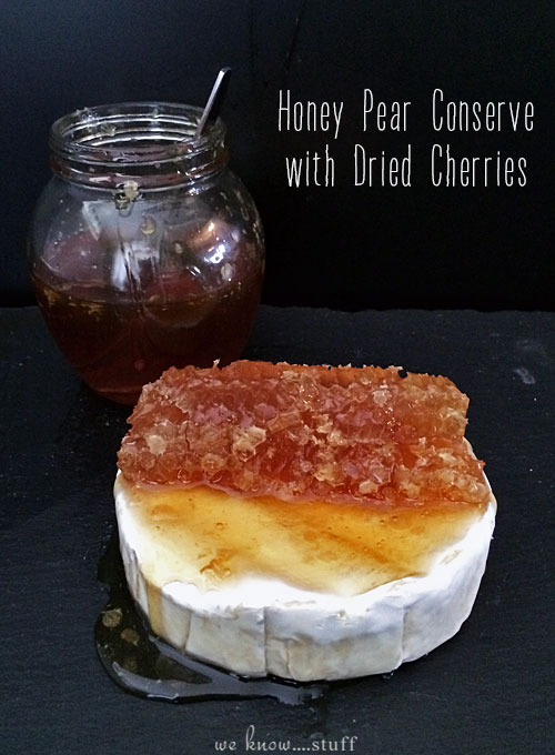 My Honey Pear Preserves Recipe is a delicious accompaniment to any cheese platter. Made with dried cherries and an edible honeycomb, it's a perfect party appetizer and goes great with soft cheeses like Brie, Camembert or Reblochon.