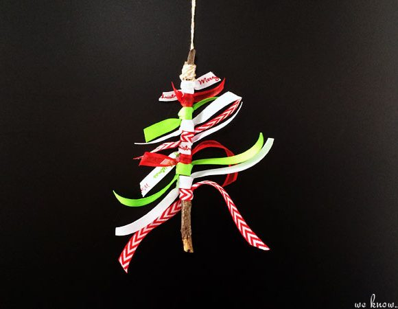 DIY Stick Christmas Tree Ornament