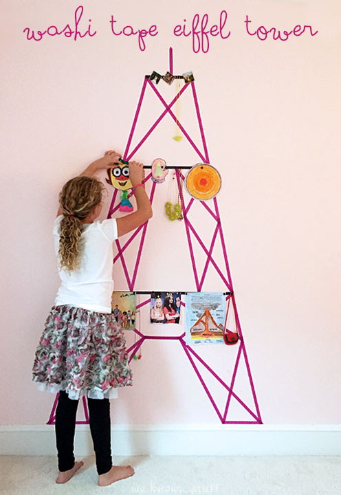 Washi Tape Wall Decor. Do you have a blank wall in your home that you struggle to decorate? I do; it's in my daughter's bedroom so we made The Eiffel Tower.