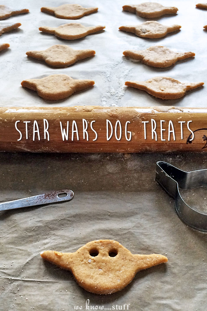 These Star Wars Dog Treats are made with leftover sweet potatoes and bacon. Shaped like Yoda, they're a super healthy dog biscuit. Your dogs will love them!