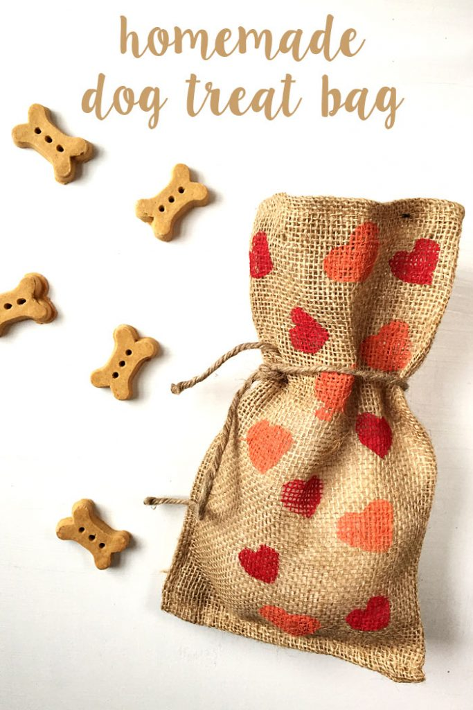 These homemade dog treat bags are the perfect Valentine's Day gift for the dog in your life. This potato stamp project is an easy and fun kid's craft.