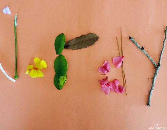 Kids Nature Hunt: Homemade Name Art Craft