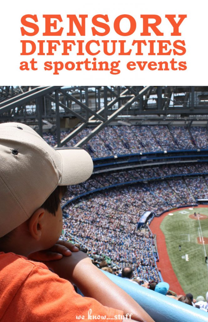 Does your child have sensory difficulties at sporting events? Here are some things to consider before you bring your child with autism to a sporting event.