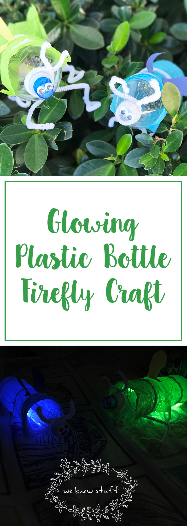In the city, we don't get to see real fireflies. This glowing plastic bottle firefly craft is a fun way to show kids what they look like when night falls!