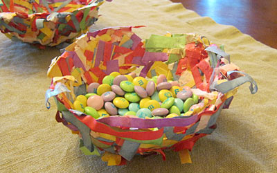 These adorable construction paper birds nests are a fun way to use up leftover bits of paper and make terrific homemade Easter gifts for friends and family!