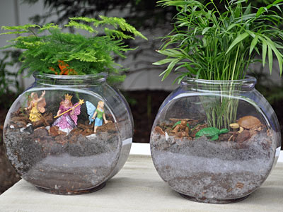 Kids craft making terrariums with betta fish bowls we for Betta fish bowl ideas