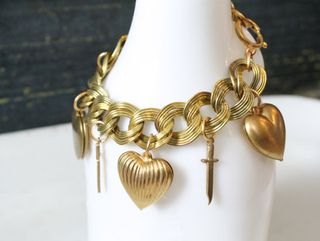 Vintage Chunky Charm Bracelet, Puffy Hearts and Daggers,