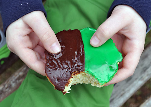 This easy Black and White Cookie Recipe is a family favorite of ours, especially when made with green icing! We like to call them Leprechaun Cookies!