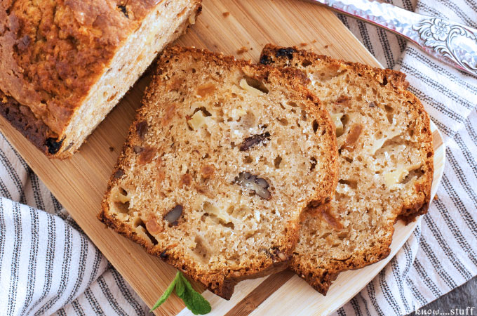 Apple picking means apple everything once you get back home. Our Apple Nut Bread is a tasty quick bread and the brown sugar topping makes it extra special.