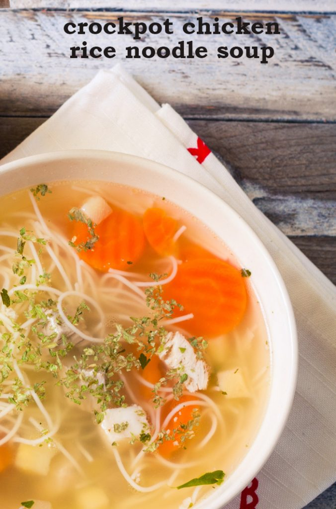 This crockpot chicken rice noodle soup is an easy gluten-free alternative to traditional chicken soup. We love this easy slow cooker chicken soup recipe.