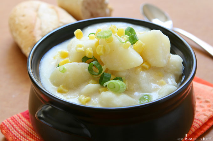 This Slow Cooker Potato Corn Soup Recipe is perfect for lazy summer days when you can't stand the grill any longer!