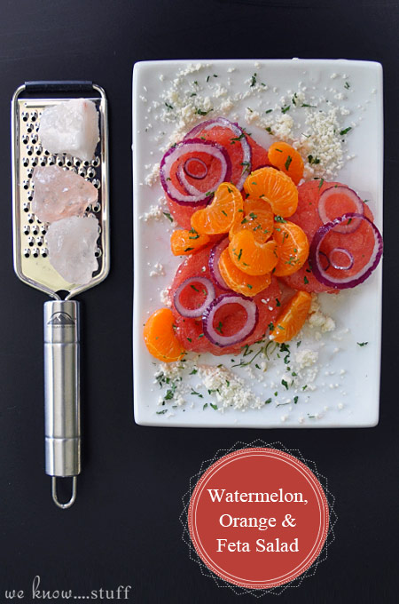 Our Watermelon Orange Feta Salad is Perfect For Hot Summer Days. I make a large batch of it to eat as a main meal when I don't want to think about cooking!