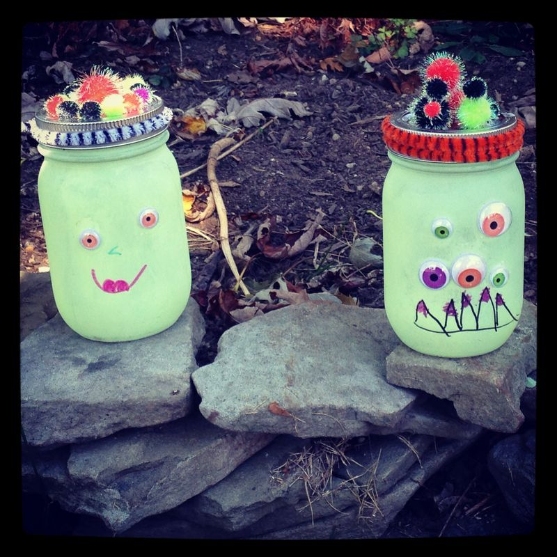 Want a gardening-inspired Halloween craft? These Glow in the Dark Mason Jars light up your yard with their spooky Monster faces! Great kids craft.
