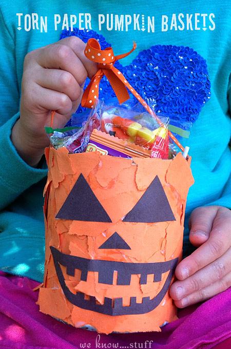 Halloween Kids Craft Torn Paper Pumpkin Baskets