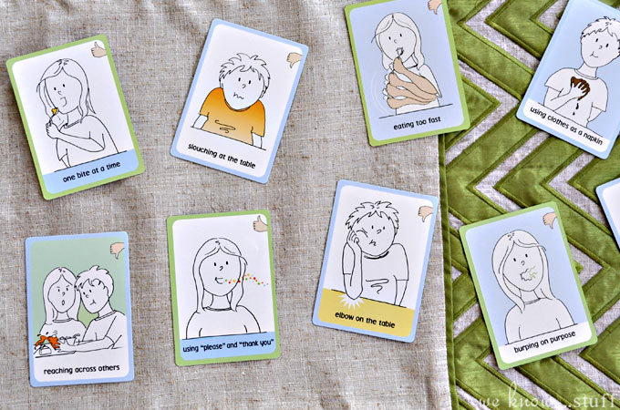 Do your children act like wildebeests at the table? Well, ours do too, which is why we love these Table Manners Cards by Golly Gee-pers! They're a great tool for teaching table manners to kids without lecturing!