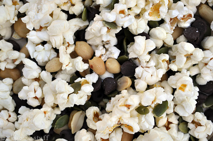 Our Popcorn Trail Mix Recipe is a perfect snack to take on family adventures. When stored in an airtight container, it will stay fresh for days making it a perfect back to school lunchbox option too!