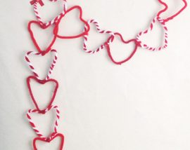 red and white pipe cleaners in heart shapes