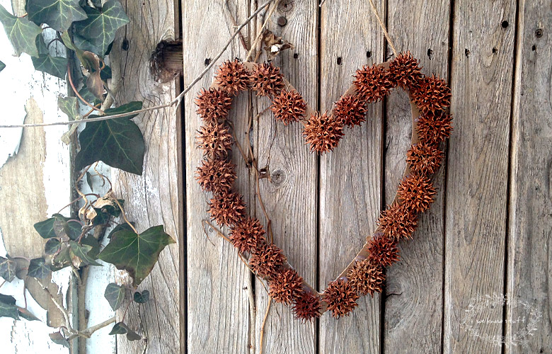Our Sweetgum Wreath is a fun kids craft for Valentine's Day. These pods are all over the woods and we're always looking for more sweet gum ball crafts to make!