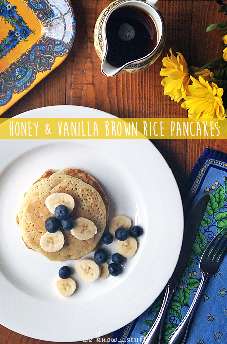 Start your morning with our gluten and dairy free recipe for Honey and Vanilla Brown Rice Flour Pancakes.