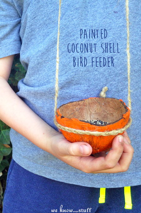 This coconut shell bird feeder craft is a fun way to re-purpose the shell of a coconut.