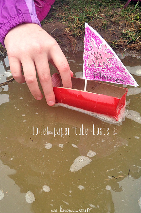Our toilet paper tube boats are perfect for a rainy day. Kids love them! Plus, they're a great way to recycle some of those paper towel rolls in your house!