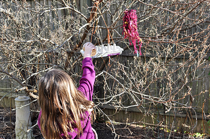 "These recycled bird feeders are made with leftover egg cartons. They're an easy nature craft for kids. We call these types of kids crafts projects ""boredom busters!"""