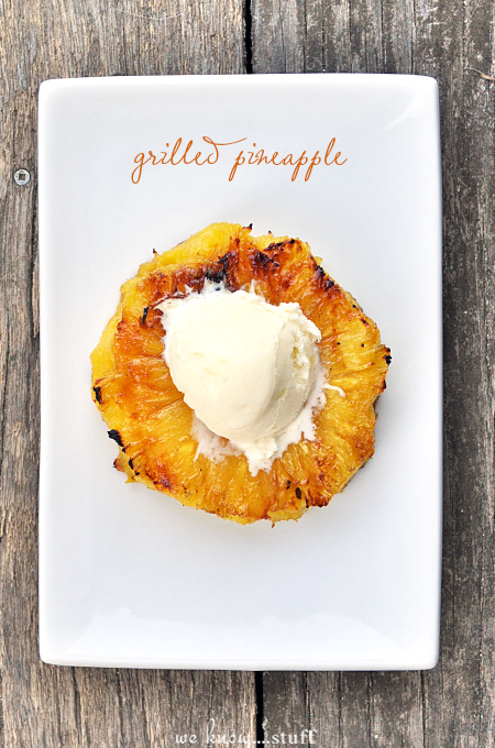 This summer grilled pineapple dessert recipe with honey is best served warm with vanilla ice cream. Save the leftovers to serve over pancakes, yogurt or overnight oats in the morning!