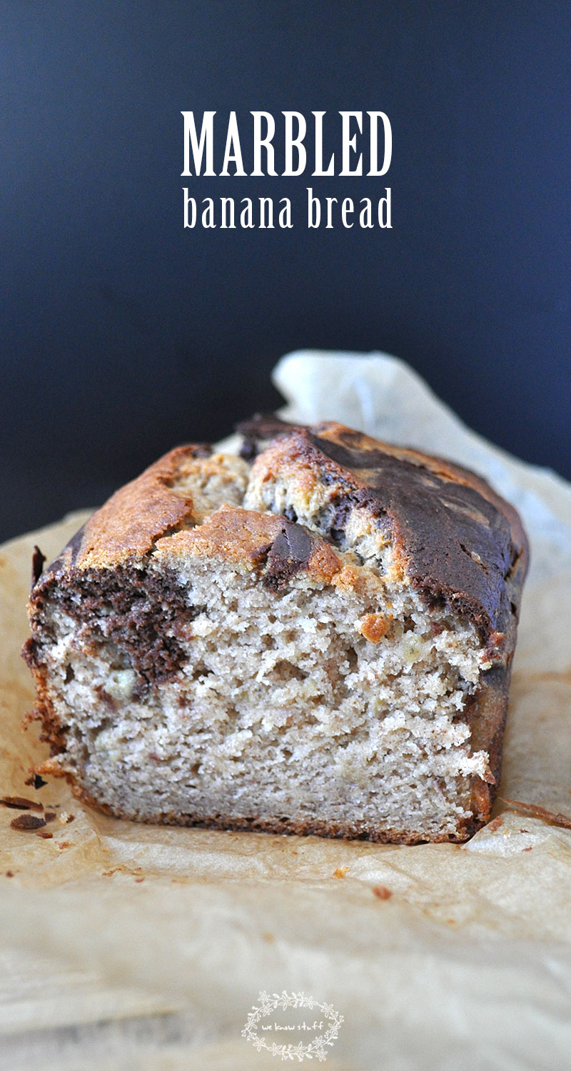 This Marbled Banana Bread combines the best of both worlds: Traditional Banana Bread and Chocolate Chocolate Chip Bread! #quick bread #bananabread #marbledbananabread #bananarecipes