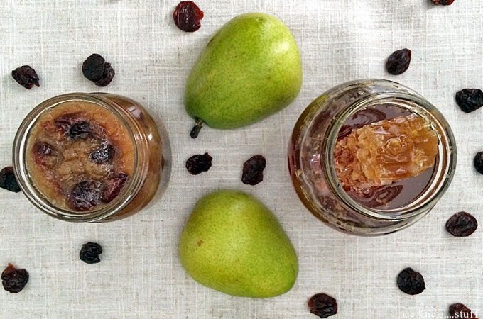 My Honey Pear Conserve with Dried Cherries is a perfect party appetizer and goes great with soft cheese like baked brie. The honeycomb is edible too!