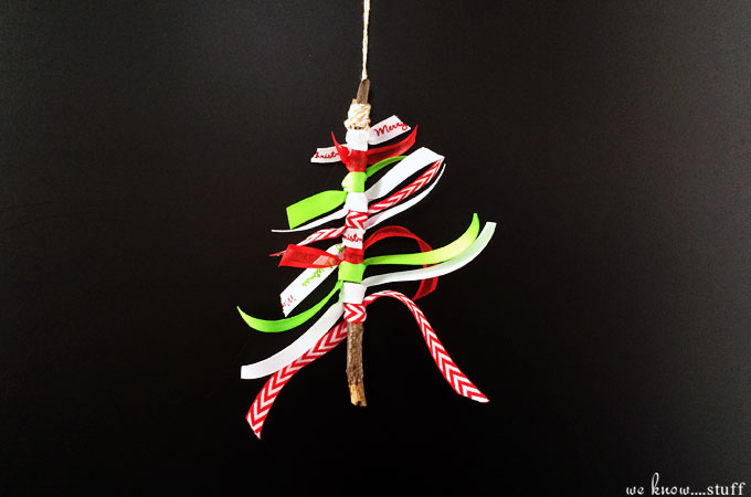 This Stick Christmas Tree Ornament uses assorted ribbons and random sticks that we collect on our nature walks. Makes a lovely keepsake ornament or homemade gift!