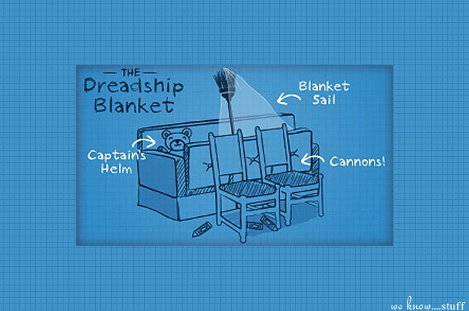 Are you looking for some rainy day fun? Check out these creative blanket forts for kids. The Dreadship Blanket Fort is perfect for your little pirates!