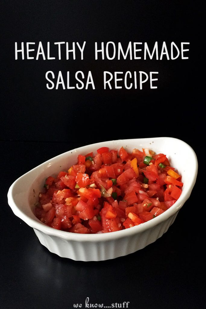 This healthy homemade salsa recipe uses fresh tomatoes, peppers and scallions to create a delicious salsa that's perfect on chips or as a topping for fish!