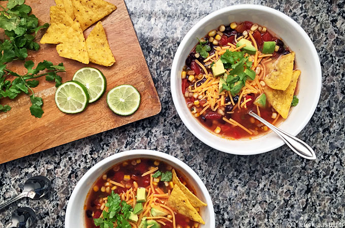 Our vegetarian southwestern soup recipe is gluten free and easy to make. This quick soup recipe is one of our favorite one pot cooking recipes!
