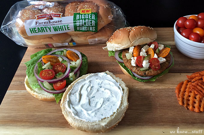Take a look at my veggie burger topped with Homemade Tzatziki Sauce With Greek Yogurt and you'll forget all about your hamburger! #MeatlessMondays