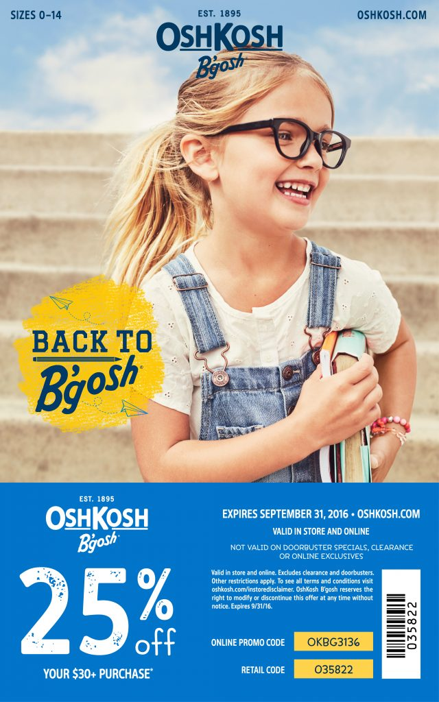 Get Back to School With Our OshKosh B'gosh Coupon Code