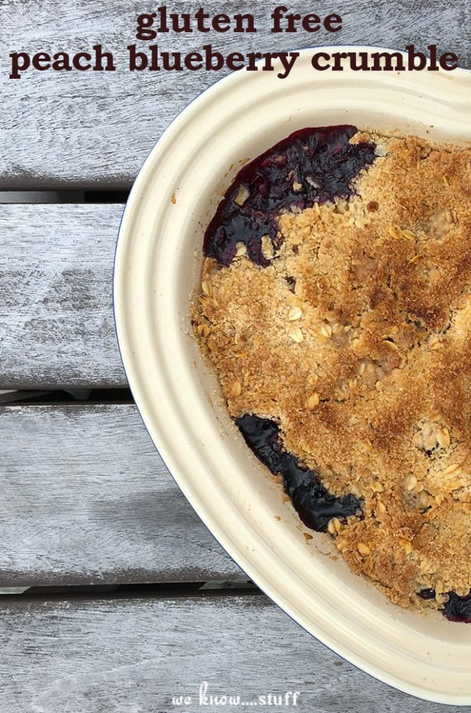 Not all of our outings go as planned. As every mom knows, sometimes it just boils down to the time you get to spend together - good or bad. So brave the heat and the bees, and go pick some peaches with your family. Then, try making our gluten free peach blueberry crumble!