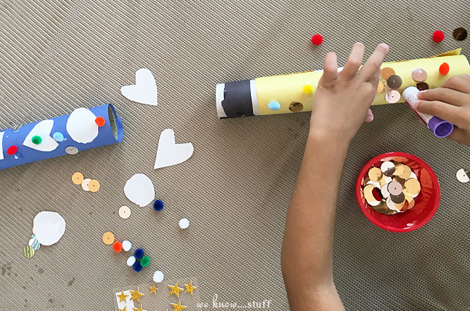 The other day, we broke out our leftover crafting materials and made some Paper Towel Roll Rockets...wearing real astronaut suits! Creative Play Rules!