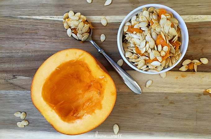 This easy snack recipe for Spicy Toasted Pumpkin Seeds falls on the savory side, tossed with paprika, onion powder, garlic powder, salt, and pepper. Yum!