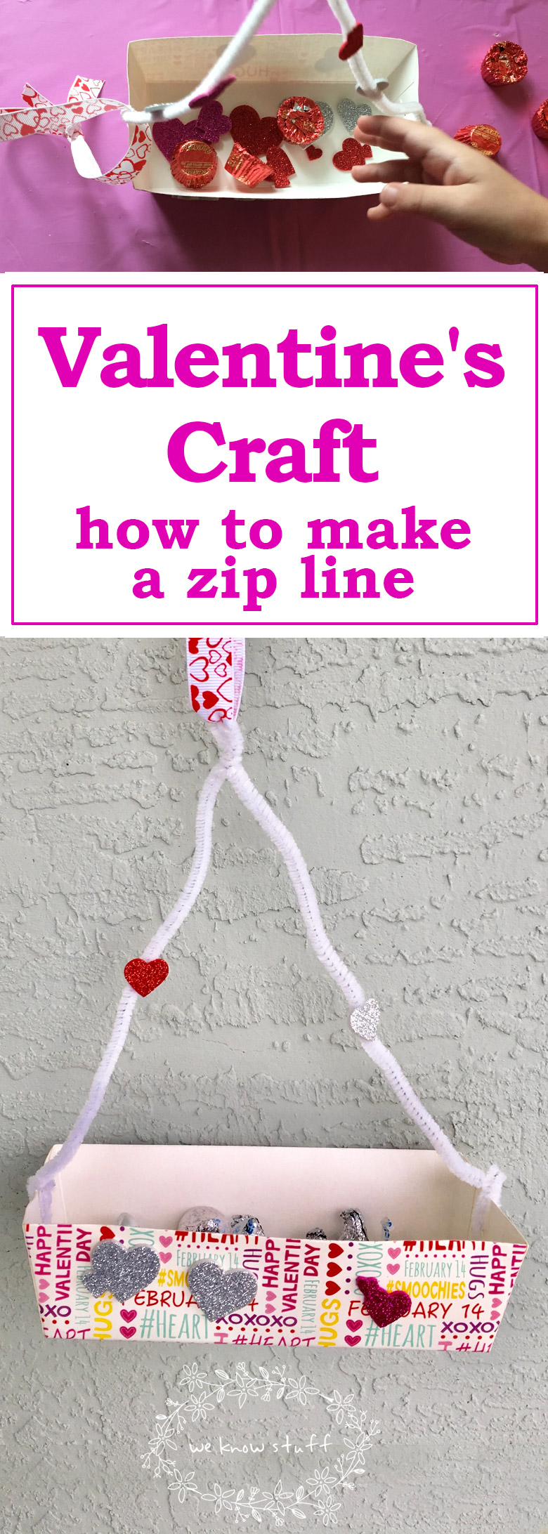Have you ever wondered how to make a zip line for toys (or, you know, candy)? Well, this super cute Valentine's Day Craft is a fun way to focus on STEM principals at home and can be easily adapted for older kids too.