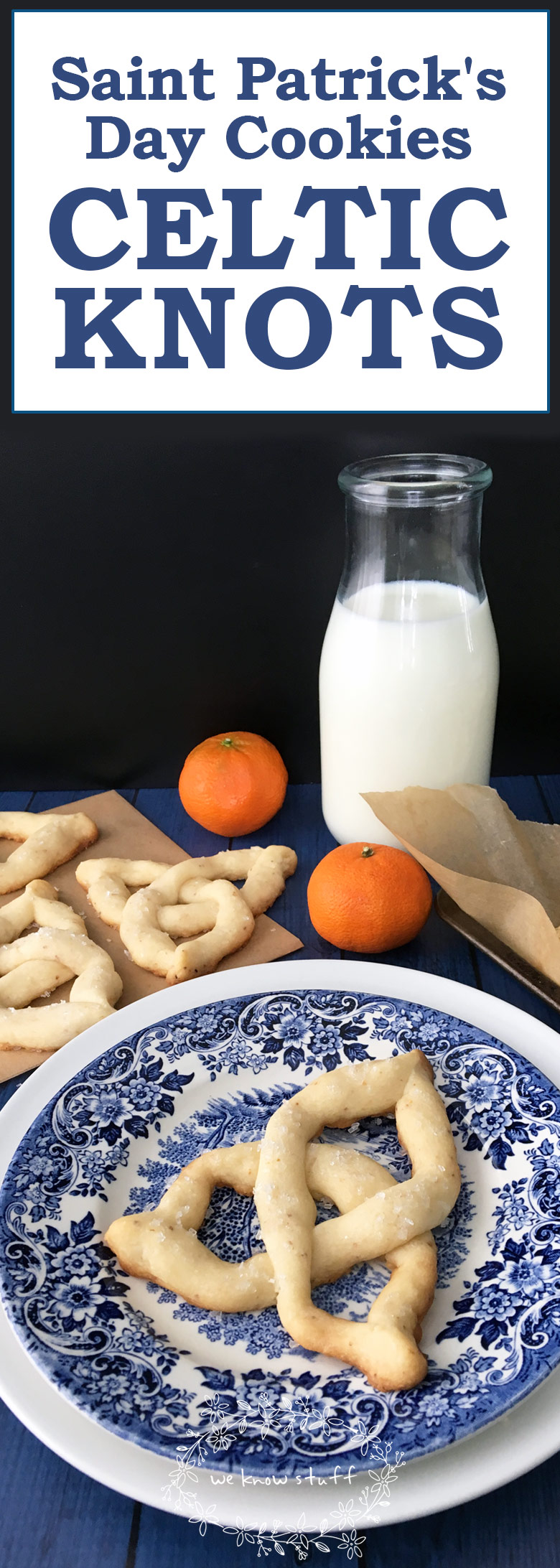 Are you looking for some tasty Saint Patrick\'s Day Cookies? Our Citrus Celtic Knot Cookies keep little hands busy as they bend shortbread dough into shapes! #stpatricksday #irishrecipes #cookies