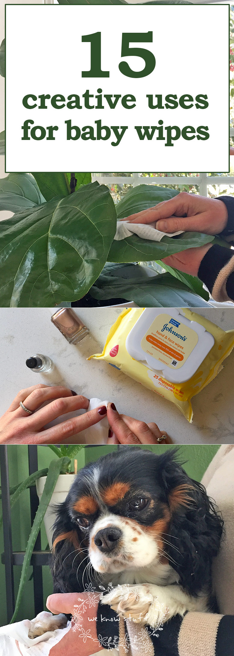 Baby wipes have helped me get out of some pretty sticky situations over the years, so we came up with 15 Creative Uses For Baby Wipes to share with all of you.